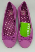 P999 Authentic CROCS  Women's Wild Orchid Bow Mammoth Flat in Size 7 and 8 only