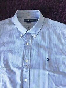 BNWT Smart 100% Genuine Mens Ralph Lauren Classic Fit Striped Shirt In XL