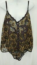 VENTURA SEXY HOLIDAY BLACK/GOLD SIZE 4X WOMENS LACE CAMI W/ PANTY
