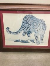 Dave Chapple Wildlife Snow Leopard Original Gouache Painting, Signed, Framed