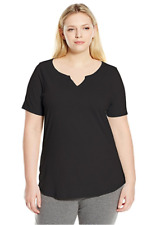 NWT Just  My Size 3X Cotton Blend S/S Split Neck Tee Top Black