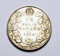 Canada 1914 Silver 50 Cents Half Dollar Coin