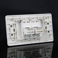 Wall Socket Plate 2 Port Network Ethernet LAN CAT5E Panel Faceplate 120mmx70mm