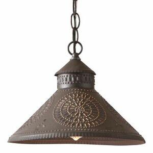 Stockbridge Hanging Light in Kettle Black punched Tin