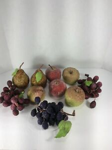 Lot 10 Artificial Beaded Fake Faux Fruit Sugared Berries Apples Pears