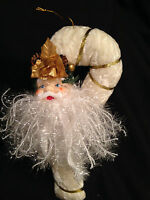 Santa Claus Head Candy Cane Christmas Ornament Holiday Craft Sparkling Velvet