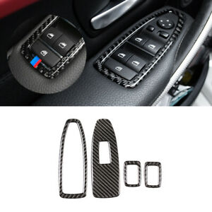 For BMW 3 4 Series F30 F32 4*Carbon Fiber Window SLift Switch Button Frame Cover