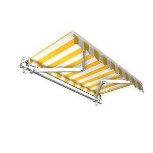 Markise Sonnenschutz Gelenkarmmarkise Handkurbel 400x300cm Blockstreifen B-Ware