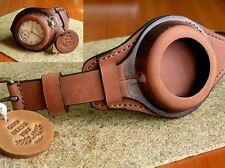 WW1 MILITARY POCKET WATCH STRAP GENUINE LEATHER WRIST BAND BROWN CASE 48-54mm