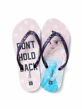 Gap Girls flip flops Disney Princess Frozen Elsa purple glitter NWT Size 3/4