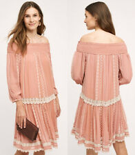 ANTHROPOLOGIE NWT ORCHARD LACE DRESS Off-The-Shoulder Swing Blush Rose XS $178
