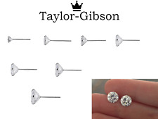 925 Sterling Silver Round Studs Earrings Clear Tiny Small Medium Large Sparkle