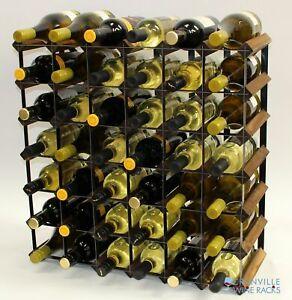 Cranville wine rack storage 42 bottle walnut stain wood/black metal assembled