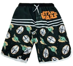 Sz 4-16 Boys Baby Yoda Swim Trunks Shorts Swimsuit Star Wars Mandalorian Grogu