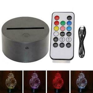 3D Lamp USB LED Base For Acrylic Night Light Plate Panel Remote Hot Holder Y6V0