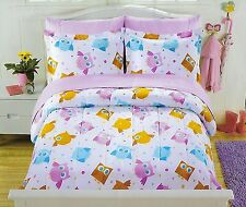 7-PC Full PBS Kids Owl Comforter Bedding Set Sheets Youth Girls Bed in A Bag