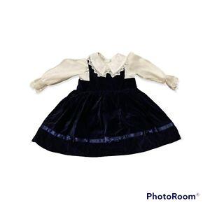 Vtg Holiday Crushed Velvet Navy Blue Dress White Shirt 2 Pc 2T Christmas Winter