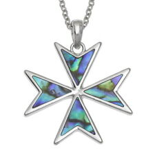 Blue Green Abalon /Paua Shell Knights Malta Cross Pendant Silver Chain Necklace