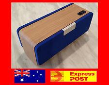 NEW Quality 30cm Wireless Bluetooth AUX Speaker Wooden Walnut Wood Blue Gift