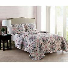 NEW VCNY Home 3 Piece Reversible Quilt Set Full /Queen Wilma Multi
