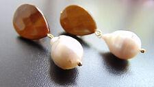 Ohrringe Ohrclips mit Edelsteine Tigerauge und Süßwasserperlen,von Catia Levy