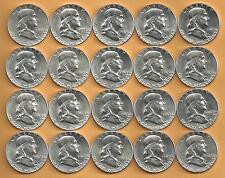 1 Roll__Franklin Silver Half Dollars__BU/UNC__1963-P_1957-P_1949-P__#1023LF11
