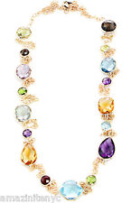 14K Yellow Gold Fancy Cut Gemstone Station Necklace With A Heavy Chain 36 Inches