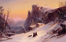 Hand painted Oil painting nice landscape Winter in Switzerland walkers pet dog