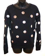 VICTORIA'S SECRET LOVE PINK Sequin BLING SWEATER Sequence Polka Dot Black Silver