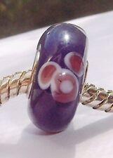 Purple Flower Single Core Murano Glass Bead fits Silver European Charm Bracelets