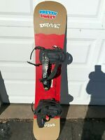 DRYVE SNOWBOARD CALIFORNIA WITH BINDINGS HAND MADE IN THE USA EUC 144 CM