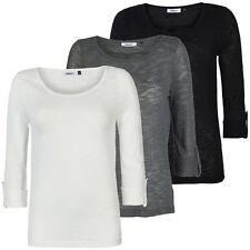 8230e7490bed Damen-T-Shirts im Unifarben-Stil mit Rundhals und Baumwollmischung ...