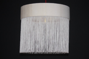 White Silk Dupion Lampshade with 27cm length white tassel detail & gold lining