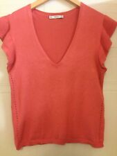Zara Coral Fluted Sleeve Knit V Neck Top S