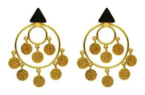 New 18K Gold Plated Hoop Earrings With Multi Faceted Black Onyx Detail