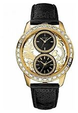 New GUESS U18512L1 Women's Dual Time Gold Tone Brocade Black Leather Strap Watch