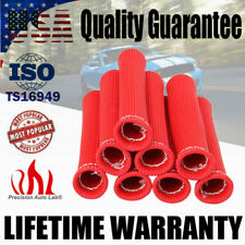"8Pack 2500° 6"" Red SPARK PLUG WIRE BOOTS HEAT SHIELD PROTECTOR SLEEVE COVER"