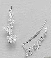 "Solid Sterling Silver Flower Ear Cuff Climber CRAWLER Hook Earrings 1"" Graduated"