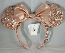 Disney Parks Minnie Mouse Ears Hat Headband Pink Sequin Pastel Rose Gold NEW
