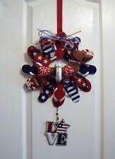 "Dachshund Patriotic Felt Sculpture 13"" Metal Flip Flop 4th of July USA Wreath"