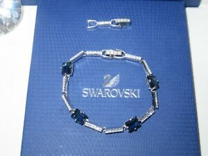 "GENUINE Swan Signed SWAROVSKI ""Lock"" Montana Blue Bracelet - #1039032"