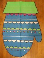 Blue, Lime, Purple Winter Mitten / Glove, Shaped applique decorative HOUSE flag