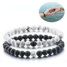 Distance Bracelets - Alpha Accessories Black Matt Onyx & White 8mm Beads Couples