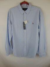 Ralph Lauren Men Large  Lt. Blue/White Striped Button Down LS Shirt NWT
