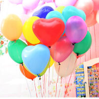 12 inch 100x Assorted Colors Heart Latex Thick Party Balloons 3.2g Helium Float