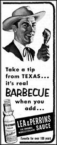 1953 Lea & Perrins sauce Texas cowboy vintage art Print Ad adL65