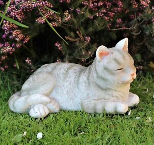 Garden Ornament cat sleeping indoor outdoor Decor statue animal home curled
