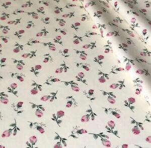 rose buds roses floral flowers Ivory cotton 100% poplin crafts dressmaking