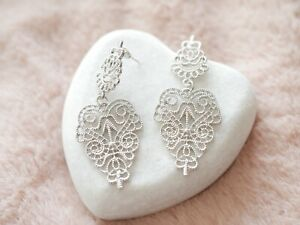 Silver Chantilly Lace Statement Chandelier Earrings Stella & Dot Inspired Gift