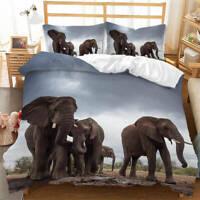 Wonderful African Elephants 3D Quilt Duvet Doona Cover Set Pillow case Print